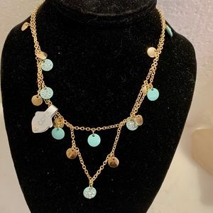Jewelry - NWT Necklace Gold Chain Crystal Teal Discs